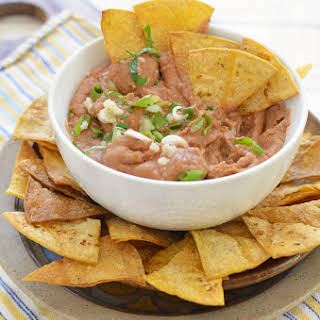 Spicy Bean Dip With Homemade Tortilla Chips.