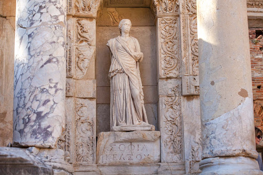 Library-of-Celsus-statue-6.jpg - Four statues on the front side of the Library of Celsus depict Wisdom, Virtue, Intellect and Knowledge.
