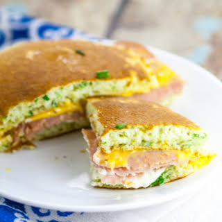 Chive Ham and Cheese Pancake Sandwiches.