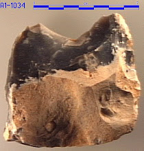 Photo: A few carefull removed flakes can provide a sharp edge.  This one is easy to make and is several million years old.