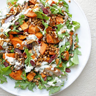 Cinnamon Roasted Sweet Potato Salad with Cranberries & Pecans Recipe