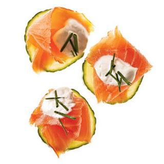 Salmon Canapes With Horseradish Cream.