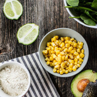 Corn Fritter Cakes with Avocado Lime Spinach Sauce.