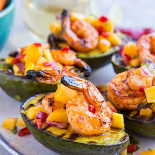 Stuffed Grilled Avocados with Grilled Shrimp and Mango Salsa.