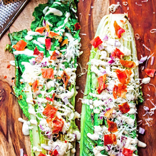 Grilled Romaine Salad with Amazing Cashew Ceasar Dressing