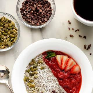Strawberry-Rhubarb & Coconut Chia Pudding Breakfast Bowl.