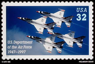Photo: 961205-D-0000P-001The U.S. Postal Service honored the Air Force during a Pentagon ceremony on Dec. 5, 1996, to unveil the design of the first-ever commemorative postage stamp highlighting the nation's youngest military service.  The stamp recognizes the Air Force's 50 years as the world's premier air and space force.  The stamp is an image of the U.S. Air Force Thunderbirds flying the F-16 Fighting Falcon.  The Thunderbirds perform precision aerial maneuvers at air shows throughout the world to demonstrate the capabilities of Air Force high performance aircraft. The Postal Service will issue and begin selling the stamp on Sept. 18,