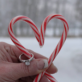 Sweet Engagement by Sean Leland - Wedding Other ( heart, diamond ring, proposal, snow, candy canes, engagement,  )