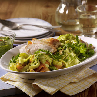 Arugula Pesto Fettucini with Chicken Breast