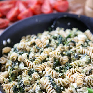 Pesto Pasta with Turkey and Kale.