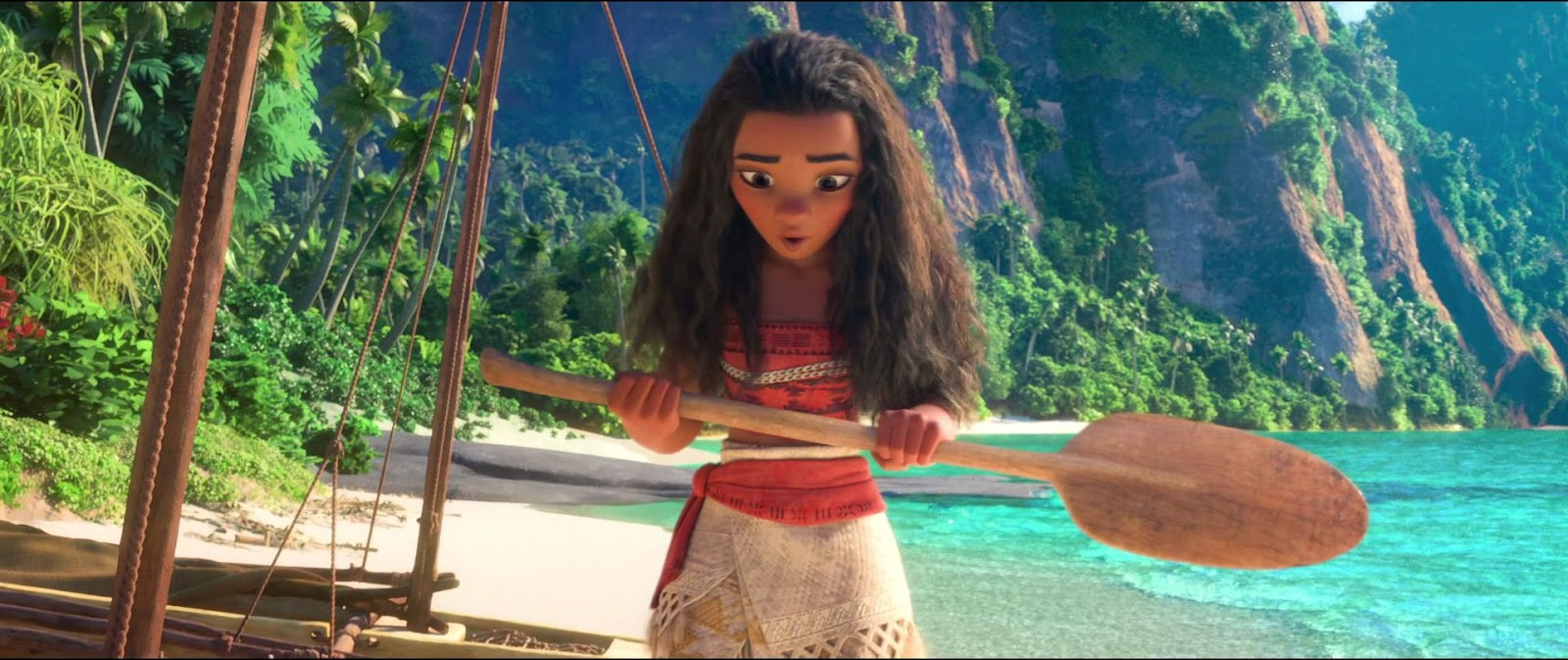 """Image of Moana from the film """"Moana"""" holding a paddle"""