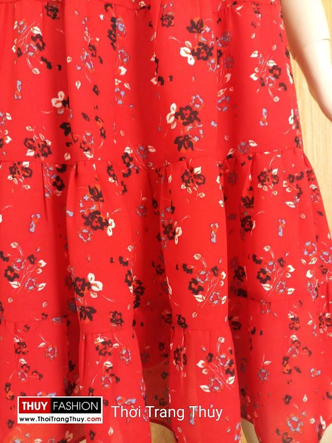 Váy xòe hai dây hở vai hoa nhí màu đỏ V685 thời trang thủy nam định