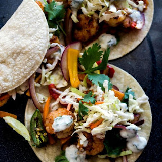Spicy Shrimp Tacos With Mint Creme