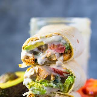 Avocado Ranch Chicken Burrito Wraps.