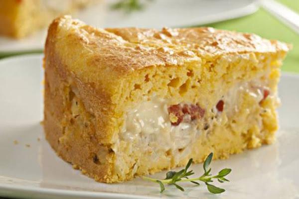 Torta de Milho, Bacon e Requeijão