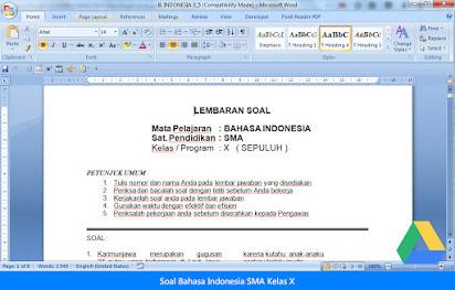 Soal Essay Bahasa Indonesia Sma Kelas X Semester 1