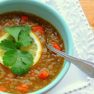 Red Lentil Soup With Fresh Cilantro and Lemon [Vegan].