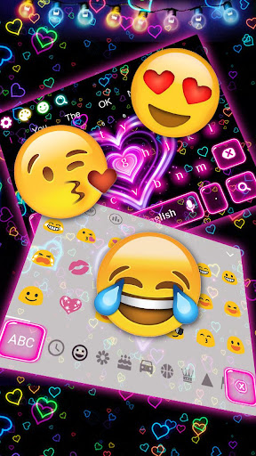 3D Neon Hearts Keyboard 10001004 screenshots 4