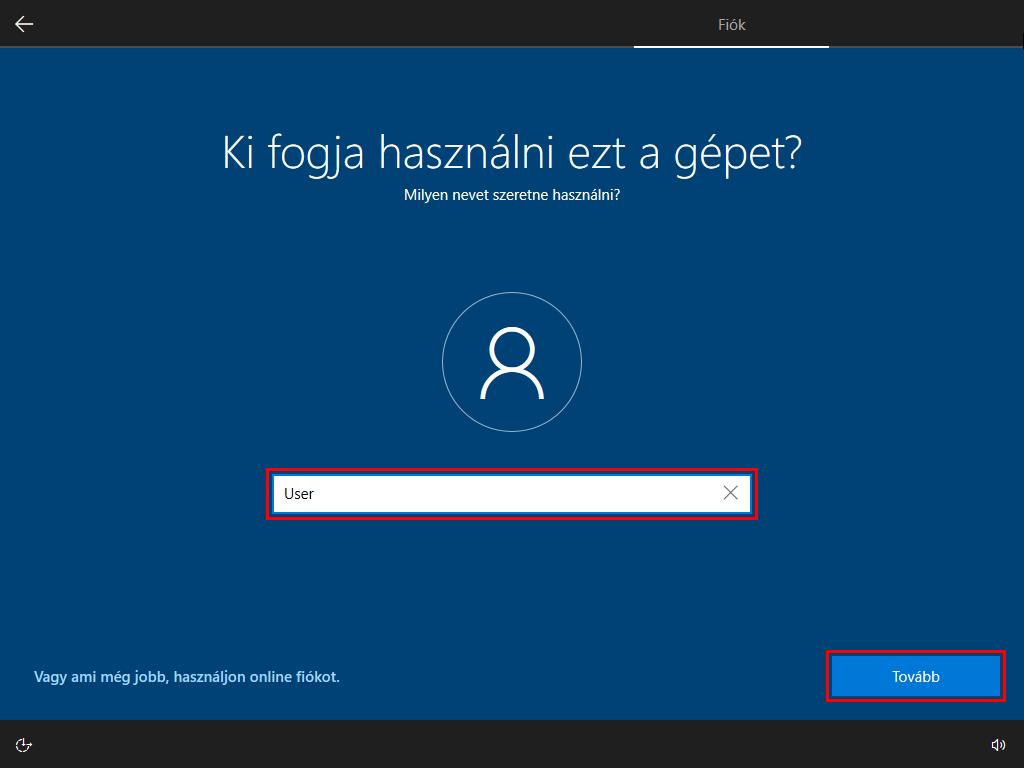 windows 10 felhasználónév megadása