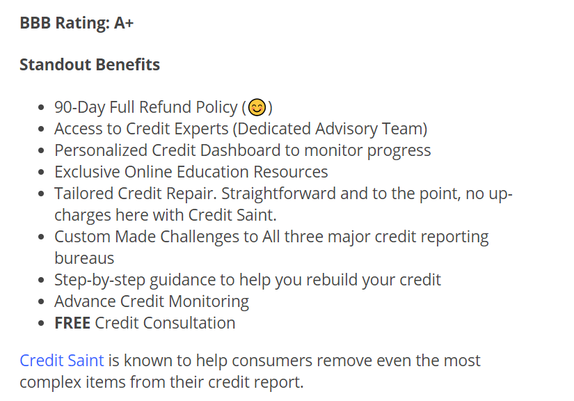 bullet points outlining CreditSaint's offer on a sales page