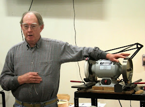 Photo: Thank you, Chuck, for coming all the way from Chestertown, MD to tell us about things like...  sharpening.  Here Chuck discusses the benefits of CBN wheel, for which he is a strong proponent.