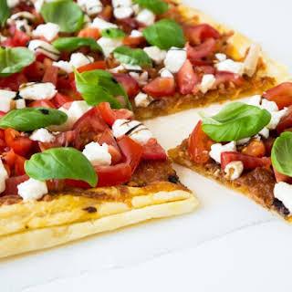 Easy Flatbread Caprese Pizza.