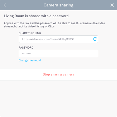 camera shared with a password