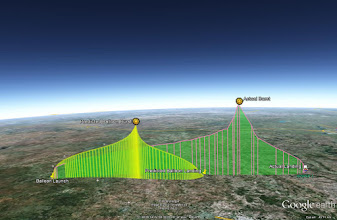 Photo: Predicted vs actual flight path. Went further due to not filling with as much hydrogen as I wanted to.