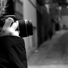 Photographer.1 by Kirsty Adams - People Street & Candids ( black and white, woman, street, photographer, rotherham )
