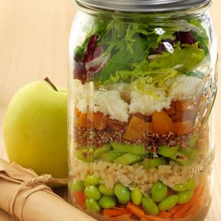 Quinoa and Edamame Mason Jar Salad.