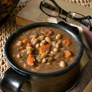 Slow Cooker Tuscan White Bean Soup.