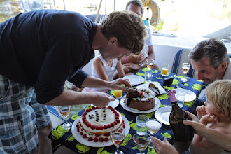 Photo: Celebrating Robert's birthday 22nd July with lots of family in the cockpit.