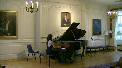 Photo: Han Nah Son, pianist and doctoral candidate at Boston University, performs Debussy at Lowell House, Harvard University