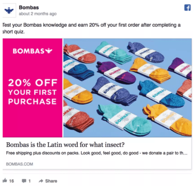 Best Facebook Ad Examples - Bombas