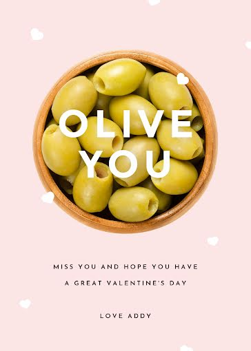 Olive You - Valentine's Day Card Template