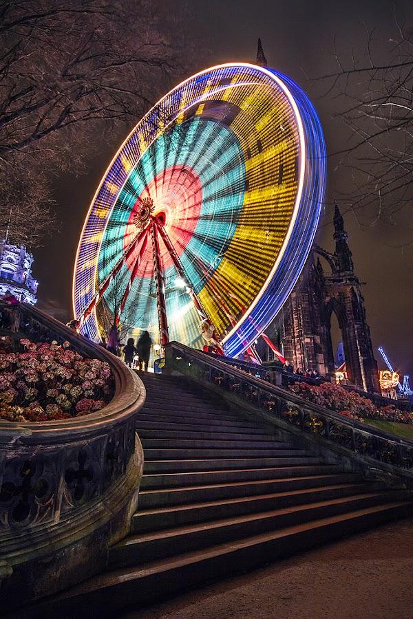 Edinburgh Winter Wonderland by Gavin Dougan - City,  Street & Park  City Parks ( scotland, edinburgh, winter, scotts monument, princes street gardens, big wheel, winter wonderland, victorian, ferris wheel )