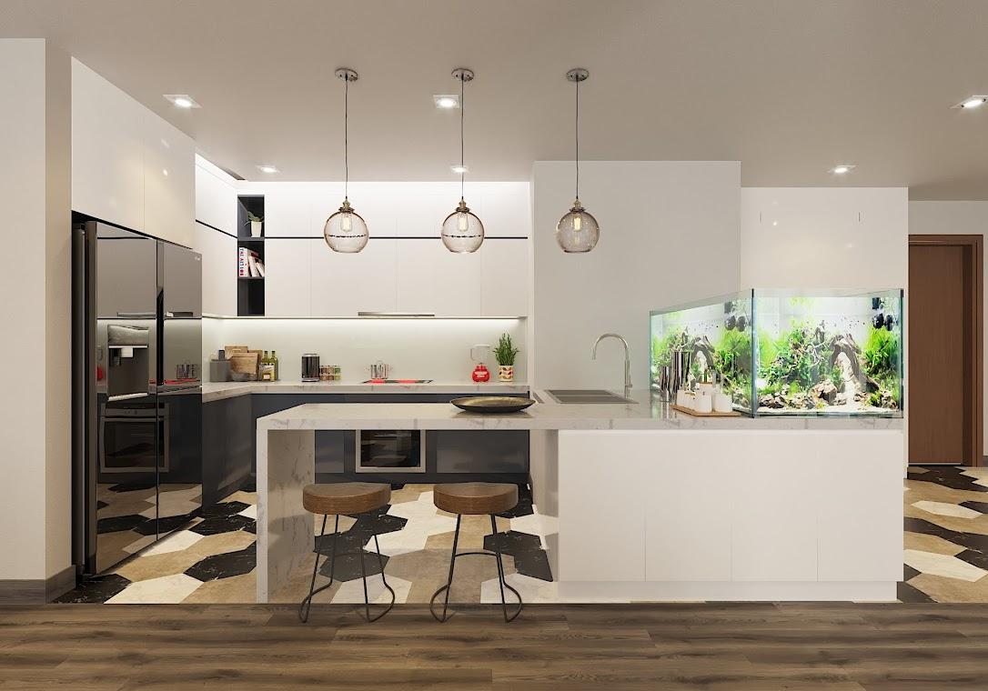 Với những không gian bếp rộng, hiện nay nhiều gia chủ có xu hướng ưu tiên thiết kế kiểu tủ bếp có quầy bar, giúp chủ nhà có thể ngồi tán gẫu cùng bạn bè, khách mời và dùng bữa ăn nhẹ ngay tại quầy. Đây cũng là mẫu thiết kế Eurowindow thi công tại căn hộ dự án Vinhomes Green Bay - Mễ Trì.