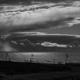 Summer Storm by Carolann Horton - Landscapes Weather ( b&w, lake huron, weather, weather front, storm clouds,  )