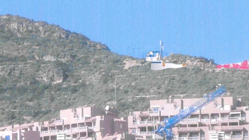 Alzado del faro ubicado en su emplazamiento del Cerro del Moro Manco, en Marina de la Torre.