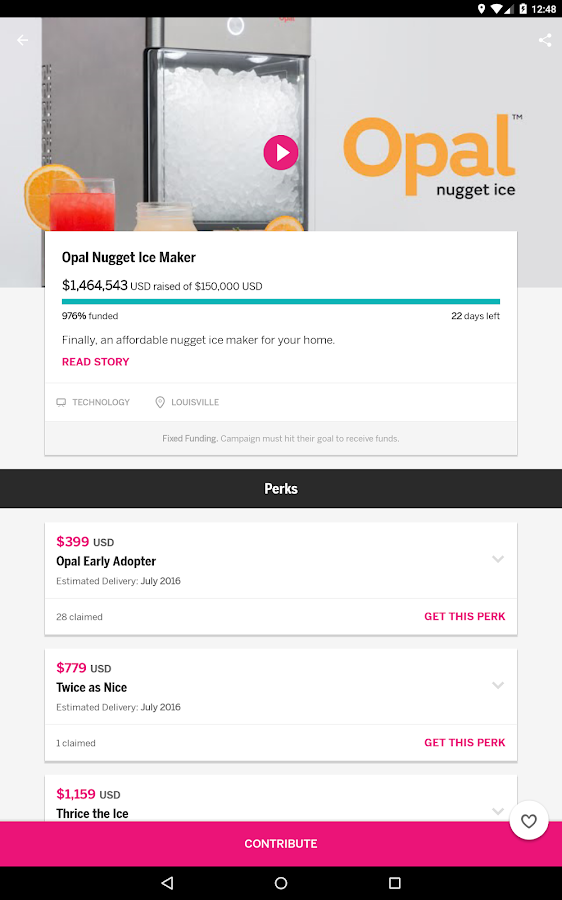 Screenshots of Indiegogo for Android