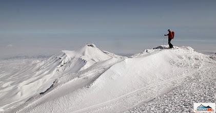 Photo: Mirka ready for skiing from the volcano Koryaksky