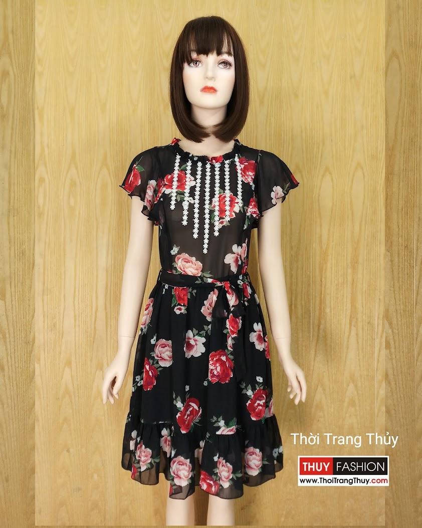 Váy xòe tay bèo vải voan họa tiết hoa V590 tại Hải Phòng