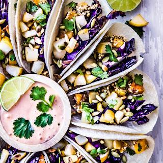 Purple Cabbage + Crispy Butternut Squash Tacos with Pears + Maple Sriracha Mayo.