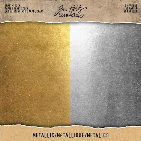 Tim Holtz Paper Stash Stock Cardstock Pad 8X8 36/Pkg - Metallic Kraft