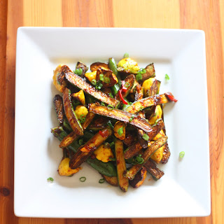 Harissa-Maple Glazed Baby Summer Squash