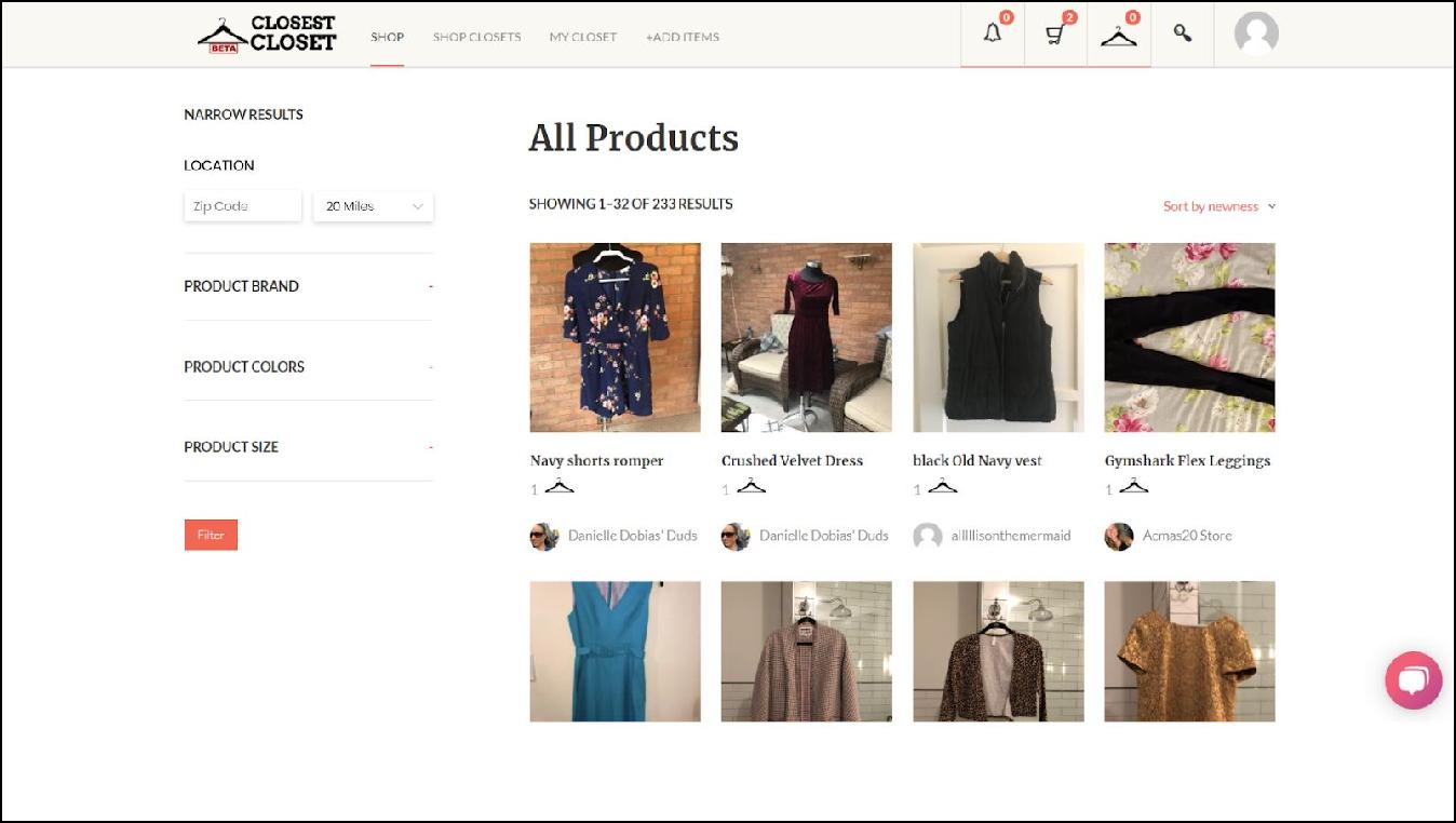 closest closet ecommerce marketplace