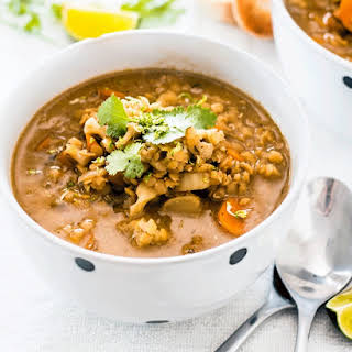 Healthy Cauliflower Soup with Carrot Cumin and Lentils.