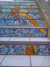 Photo: End of thirteenth full day of work (Sunday, November 13, 2013): Newly-grouted section at the top of the Hidden Garden Steps (16th Avenue, between Kirkham and Lawton streets in San Francisco's Inner Sunset District), where the 148-step ceramic-tile mosaic designed and created by project artists Aileen Barr and Colette Crutcher has been completely installed. KZ Tile workers remained on site all day to finish grouting the mosaic and the surfaces upon which visitors will walk. For more information about this volunteer-driven community-based project supported by the San Francisco Parks Alliance, the San Francisco Department of Public Works Street Parks Program, and hundreds of individual donors, please visit our website at http://hiddengardensteps.org.