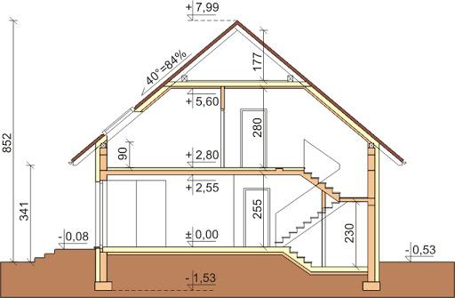 Dom przy Cyprysowej 7 - Przekrój