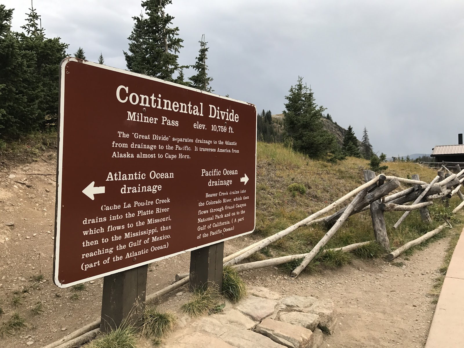 Continental Divide sign on Trail Ridge